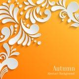 Fondo arancio astratto con il modello floreale 3d Immagini Stock