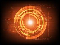 Fondo arancio astratto di tecnologia digitale del cerchio, fondo futuristico di concetto degli elementi della struttura illustrazione di stock