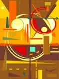Fondo arancio astratto, forme geometriche e curve operate, stile di arte di espressionismo Fotografia Stock Libera da Diritti