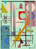 Fondo arancio astratto, geometrico operato e linee forme, stile di arte di espressionismo Fotografie Stock