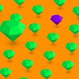 Fondo arancio con il modello verde dei diamanti 3d illustrazione vettoriale