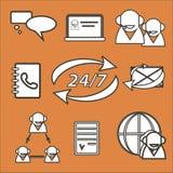 Fondo arancio con l'insieme delle icone di call-center Fotografia Stock