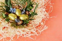 Uova di cioccolato nel nido Fotografie Stock