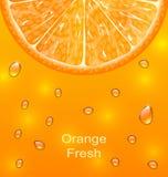 Fondo arancio con la fetta e le gocce Fotografia Stock Libera da Diritti