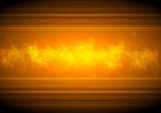 Fondo arancio d'ardore di tecnologia con poli basso Fotografia Stock