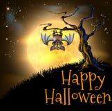 Fondo arancio del pipistrello di vampiro di Halloween Fotografie Stock