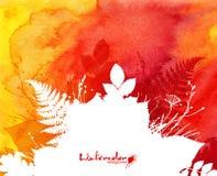 Fondo arancio dell'acquerello con le foglie bianche Fotografie Stock Libere da Diritti