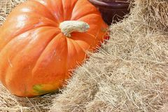 Fondo arancio di caduta della balla di fieno e della zucca Fotografia Stock