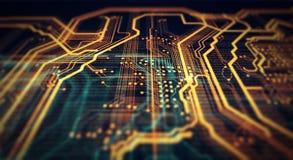 Fondo arancio e verde di tecnologia Fotografie Stock Libere da Diritti