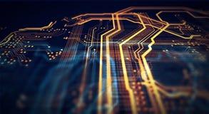 Fondo arancio e verde di tecnologia Immagini Stock Libere da Diritti