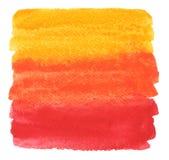 Fondo arancio, rosso, cremisi del quadrato dell'acquerello Fotografia Stock Libera da Diritti