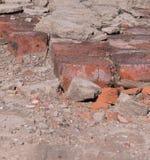 fondo arancio rotto dei mattoni costruzione fotografia stock libera da diritti