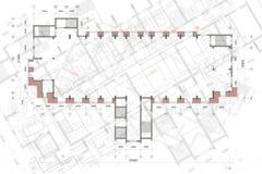 Fondo architettonico con i disegni tecnici E r fotografia stock libera da diritti