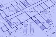 Fondo architettonico con i disegni tecnici E r immagine stock