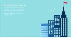 Fondo architettonico di paesaggio urbano e della costruzione con la bandiera rossa sulla cima Fotografia Stock Libera da Diritti