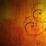 Fondo ardiente anaranjado con el scrollwork negro Imágenes de archivo libres de regalías