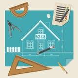 Fondo arquitectónico con el equipo de dibujo Imagenes de archivo