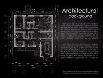 Fondo arquitectónico del vector Dibujo blanco en un fondo negro folleto Dibujo de una casa Disposición del stock de ilustración
