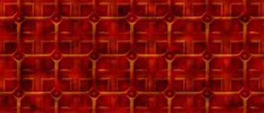 Fondo arrugginito dello steampunk 3d con una griglia sopra le forme quadrate (senza cuciture) Immagine Stock
