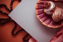 Fondo artístico con el spcace vacío de la copia, paleta anaranjada Foto de archivo