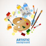 Fondo artistico con la tavolozza e le pitture royalty illustrazione gratis