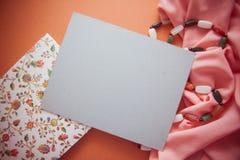 Fondo artistico con lo spcace vuoto della copia, tavolozza arancio Fotografia Stock