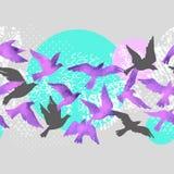 Fondo artistico dell'acquerello: siluette dell'uccello di volo, forme fluide riempite di minimo, lerciume, strutture di scarabocc illustrazione di stock