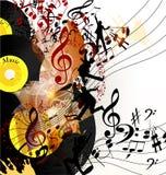 Fondo artistico di musica con il disco di vinile e note nella psiche Immagini Stock Libere da Diritti