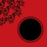 Fondo asiático rojo y negro del loto Foto de archivo libre de regalías