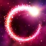 Fondo astral abstracto con el marco de neón del cometa que brilla intensamente en cielo nublado del espacio Vórtice de partículas ilustración del vector