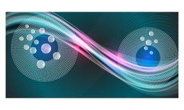 Fondo astratto blu con gli oggetti astratti illustrazione di stock