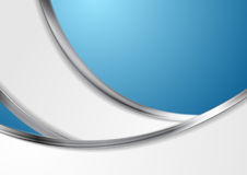 Fondo astratto blu con le onde d'argento metalliche Immagini Stock Libere da Diritti