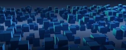 Fondo astratto blu di tecnologia della scatola Fotografia Stock