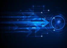 Fondo astratto blu di tecnologia di ciao-tecnologia dell'illustrazione di vettore Fotografie Stock