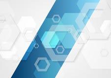 Fondo astratto blu e grigio di vettore di tecnologia Immagine Stock Libera da Diritti
