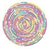 Fondo astratto casuale tratteggiato variopinto dei cerchi concentrici illustrazione di stock