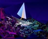 Fondo astratto che somiglia ad un mare di notte con il sa Immagine Stock