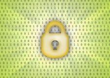Fondo astratto, codice binario ed icona della serratura Fotografia Stock Libera da Diritti