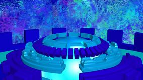 Fondo astratto con blu girante dei cerchi di romanzo il ciano illustrazione vettoriale