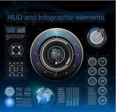 Fondo astratto con differenti elementi del hud Elementi di Hud, grafico Illustrazione di vettore illustrazione di stock