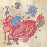 Fondo astratto con gli elefanti ed i fiori Fotografia Stock