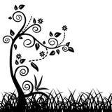 Fondo astratto con gli elementi floreali disegnati a mano Fotografie Stock Libere da Diritti