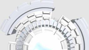 Fondo astratto con i cerchi giranti di romanzo bianchi illustrazione vettoriale