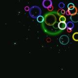 Fondo astratto con i cerchi variopinti e le bolle Fotografia Stock Libera da Diritti