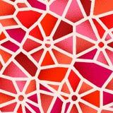 Fondo astratto con i colori vibranti e le retro pendenze d'annata disegnate del dotwork sulle mattonelle di griglia di voronoi illustrazione di stock
