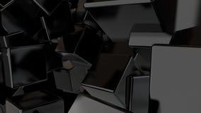 Fondo astratto con i cubi neri Contesto di concetto di tecnologia rappresentazione 3d Fotografie Stock Libere da Diritti