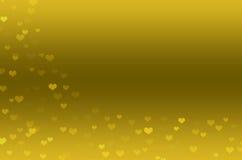 Fondo astratto con i cuori dell'oro Immagini Stock Libere da Diritti