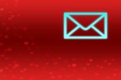 Fondo astratto con i cuori rossi ed una lettera Immagine Stock