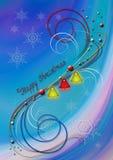 Fondo astratto con i fiocchi di neve e le campane e decorazione del colorato di dei whorls Fotografia Stock