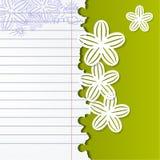 Fondo astratto con i fiori bianchi e del quaderno Immagini Stock